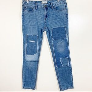 """Free People Skinny Patchwork Jeans light 9"""" Rise"""